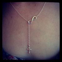 Sterling Silver Infinity & Cross Lariat Style by mysticalterry1