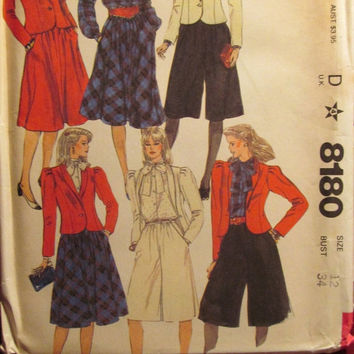 SALE Uncut 1980's McCall's Sewing Pattern, 8180!Size 12/Medium/Women's/Misses/Loose Fitting Blouses/Skirts/Jackets/Culottes/Puffy Sleeves/Pe