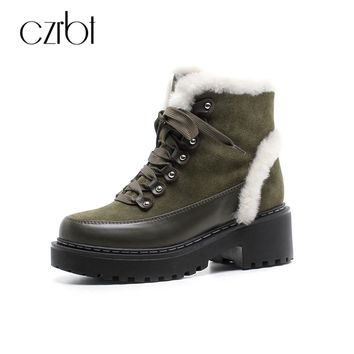 CZRBT Genuine Leather Platform Snow Boots Warm Plush Fashion Women Shoes Wedges Heel Lace-Up Cow Suede Waterproof Snow Boots