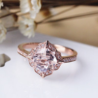 7mm Cushion Vintage Floral Morganite Engagement Ring Solid 14K Rose gold Wedding Ring Anniversary Ring Bridal Ring Set Available
