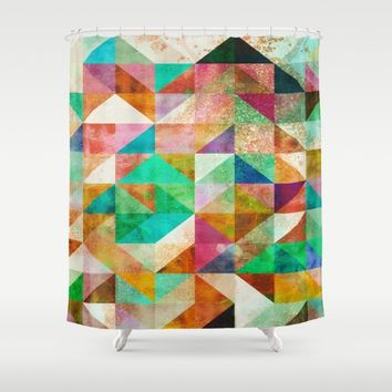 Abstract geometric Pattern with gold dust Shower Curtain by Jeanette Rietz