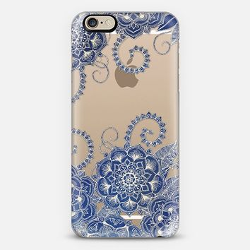 Mermaid's Garden - Navy & Teal Floral on Crystal Transparent iPhone 6 case by Micklyn Le Feuvre   Casetify