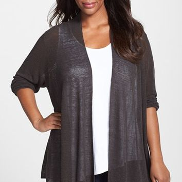 Plus Size Women's NIC+ZOE 'At Ease' Linen Blend Open Front Cardigan
