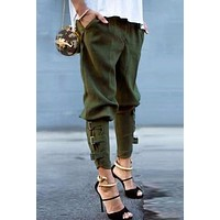 Casual Loose Pockets Elastic Waist Harem Pants