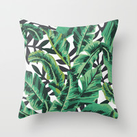 Tropical Glam Banana Leaf Print Throw Pillow by Nikki