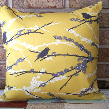1 Decorative Pillow Cover  Sparrows in Vintage by sewgracious