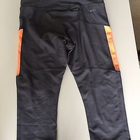 EUC Nike Dri Fit Gray and Orange Knee Length Workout Athletic Legging Size Small