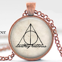 Harry Potter Deathly Hollow Triangle Trigangular Symbol Pendant Necklace Jewelry Movie jewelry necklace, gift for harry potter lover fan