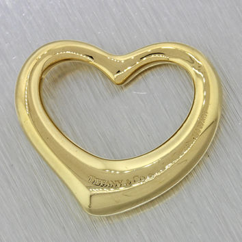 Tiffany & Co Designer Modern 18k Solid Yellow Gold Open Heart Necklace Pendant