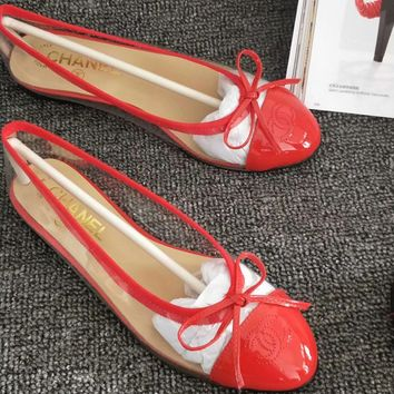 Chanel Bow knot Sandals Fashion Espadrilles For Women shoes Red