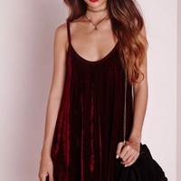 Missguided - Strappy Velvet Swing Dress Burgundy
