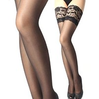 Coromose® Sexy Lace Top Silicone Band Thigh High Stockings(Black)