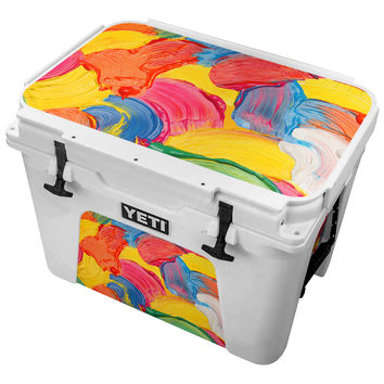 Multicolored Wet Paint Swirls Skin for the Yeti Tundra Cooler