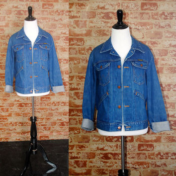 Vintage 1970s long sleeve WRANGLER Dark Blue DENIM   button down GRUNGE Denim Jacket