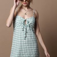 MINKPINK Sage Gingham Slip Dress