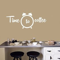 Wall Decals for Kitchen Time to Coffee Quote Decal Stickers Cafe Window Home Decor Ds330
