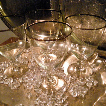 Vintage Silver Rimmed Wine Glasses with Flat Knobbed Stem, Set of 4, Very Romantic and Unique for Mixed Drinks and Cocktails