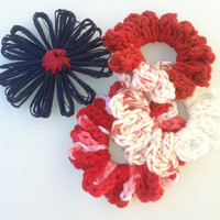 SCRUNCHIES...3 Scrunchies, Hair Ties, Hair Accessories, Black and White