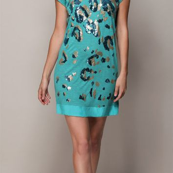 Teal Sequined Rayon Slub T-Shirt Dress