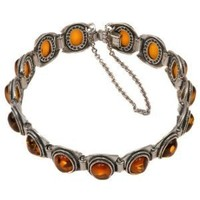 "Baltic Honey Amber Sterling Silver Vintage Oval Cut Bracelet 7"" - Like Love Buy"