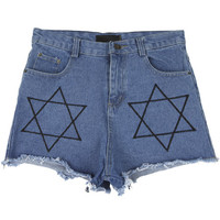 Star Denim Shorts with Unfinished Hem | FashionShop【STYLENANDA】