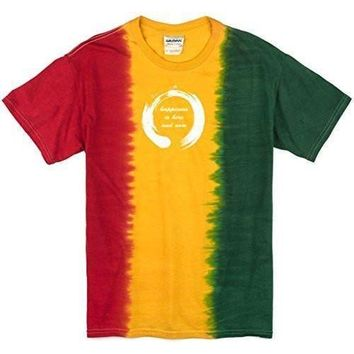 Yoga Clothing for You Mens Zen Happiness Rasta Tie Dye Tee Shirt
