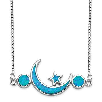 Sterling Silver Created Blue Opal Moon & Star Necklace