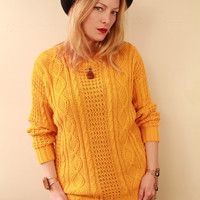 Vintage - 80s/90s - Mustard Yellow - Cable Knit - Long - Slouchy - Jumper - Sweater - Preppy