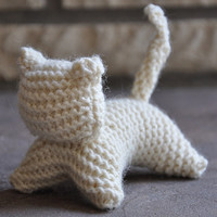 White Wool Knitty Kitty - A Waldorf Inspired Knitted Toy