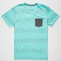 Blue Crown Broken Lines Mens Pocket Tee Mint  In Sizes