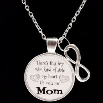 There's This Boy Who Stole My Heart He Calls Me Mom Mother Gift Quote Necklace