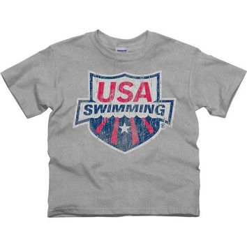 USA Swimming Youth Distressed Crest T-Shirt - Ash - http://www.shareasale.com/m-pr.cfm?merchantID=7124&userID=1042934&productID=528459162 / USA Swimming