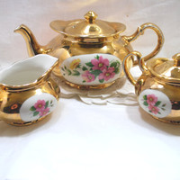 Gold Tea Set in Porcelain with Flower Crest White and Yellow , Teapot with Sugar and Milk Jug