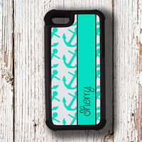 Anchor case fits Iphone 4s, case for Iphone 5s - Light turquoise blue anchors - personalized fits iPhone 4/4s/5/5s/5c, protective (1237)