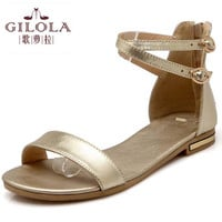 new flat women's sandals ladies leather + PU women sandals summer shoes woman white black shoes #Y0569501F