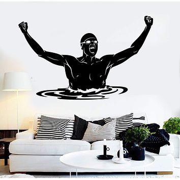 Vinyl Wall Decal Swimmer Swimming Pool Swim Sport Stickers Unique Gift (ig3768)