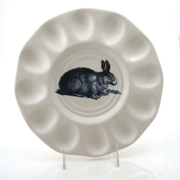 Easter egg plate, deviled egg dish, vintage easter bunny, spring celebrations, table decor, ceramics and pottery