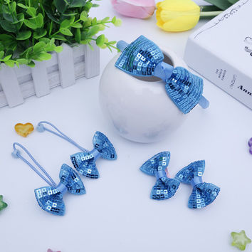 5PCS/Set Sequined Barrettes Girls Hair Rope Kid Hair Accessories Set Colorful Head Bands Children Hairpins Hairbands