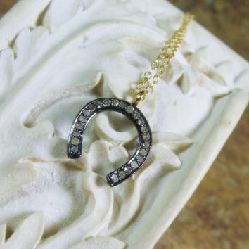 Diamond Pave Horseshoe Sterling Pendant Necklace