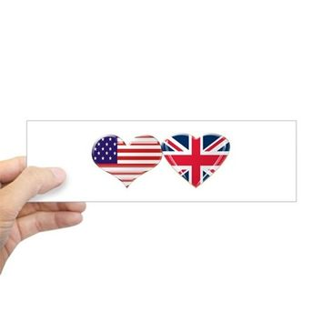 USA AND UK HEART FLAG STICKER (BUMPER)