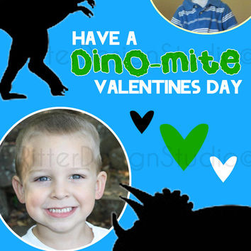 Dinosaur Dino Mite Personalized Valentines Day Card - Printable