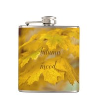 Yellow autumn maple leaves. Add you text or name. Flask