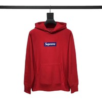 "Supreme Embossed Logo Hooded ""Red"""