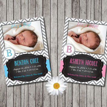 Custom Birth Announcement with Baby Picture- Girl or Boy Photo Birth Announcement Cards - Blue or Pink - Custom Design - Printable File
