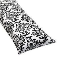 Amazon.com: Damask Full Length Double Zippered Body Pillow Cover for Black and White Isabella Bedding Set: Home & Kitchen