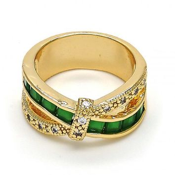 Gold Layered Mult-stone Ring, with Cubic Zirconia, Golden Tone