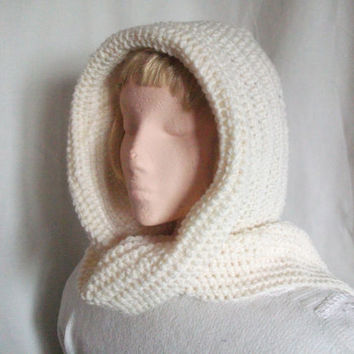 Crocheted Hooded Scarf. All In One Hood & Scarf Combo in Cream. Winter Fashion Accessories, Hoodie, Men, Women,