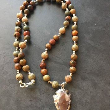 Arrowhead Necklace, Jasper Necklace, Beaded Necklace, 22 Inch Necklace, Womens Necklace