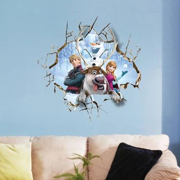 Cartoon Frozen Kids DIY 3D Sticker Snow Puzzle Children's Room Decoration Kindergarten Stickers Pegatinas Autocollant Enfant