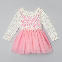 Sweet Cheeks Pink & White Claire Lace Dress - Infant, Toddler & Girls | Something special every day
